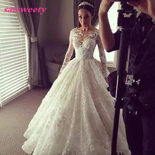 Newest Winter Style Vintage Ball Gown Dresses For Wedding Full Sleeves Transparent Lace Tiered Romantic Bridesmaid Dress
