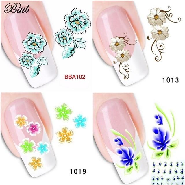 Bittb 1 Sheet Fingernail Sticker Green Blue Colorful Flower Nail Art ...