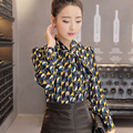 Pop Print Women Blouse Chiffon Shirt Spring Autumn Shirt Women Ribbon Bow Tie Long Sleeve Tops Casual Plus Size S-XXL T6820