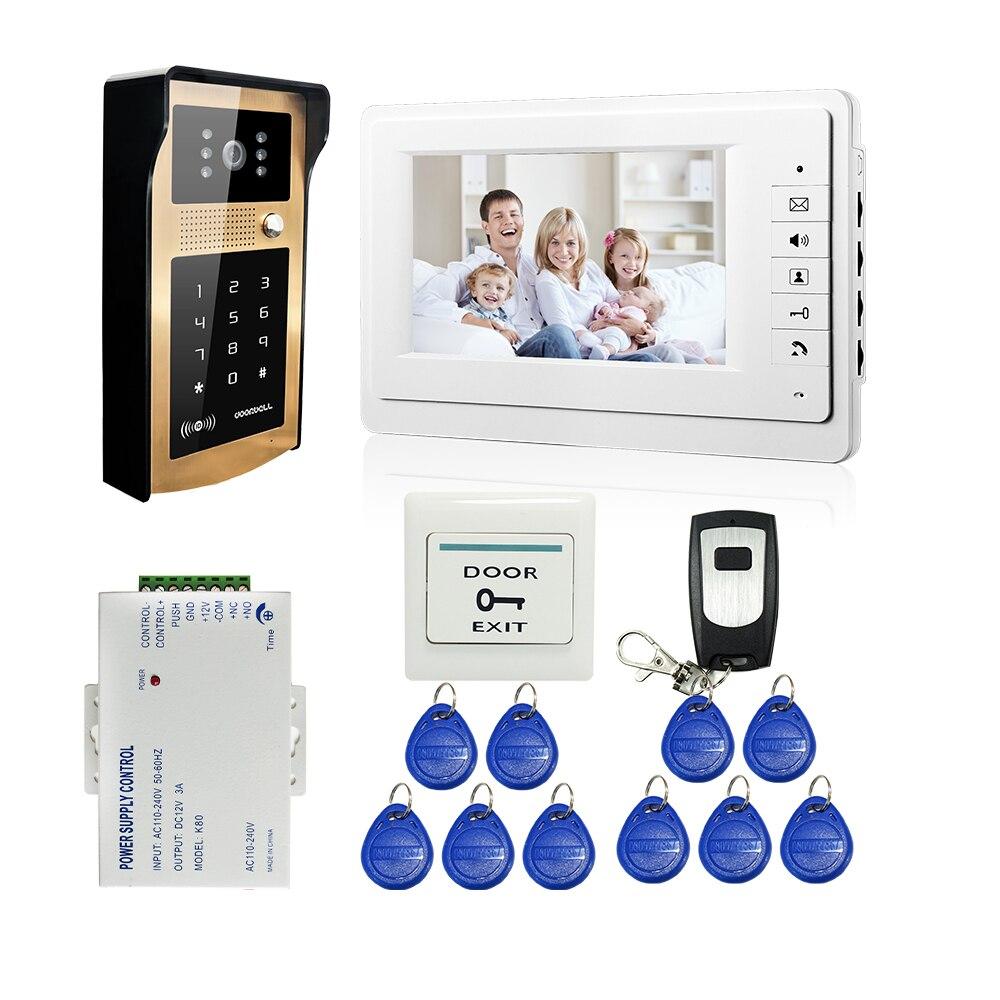 FREE SHIPPING 7 LCD Video Intercom font b Door b font Phone System White Screen Wateproof