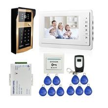 """ENVÍO LIBRE 7 """"Pantalla LCD Sistema de Videoportero De Intercomunicación Blanco + Código de Acceso Del Teclado RFID Wateproof Cámara Timbre + Remote"""