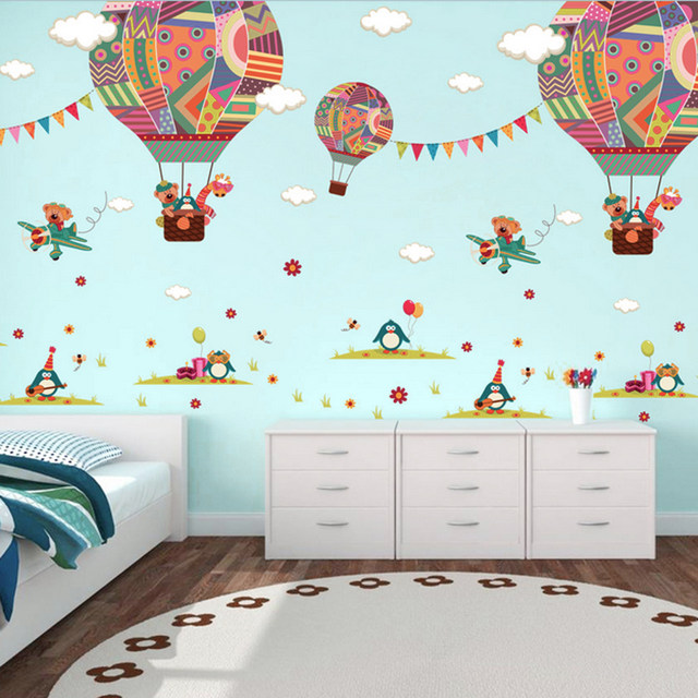 Hot Air Balloon Wall Stickers For Kids Children Room DIY Cartoon Bear  Giraffe Wall Decal Poster Children Baby House Mural