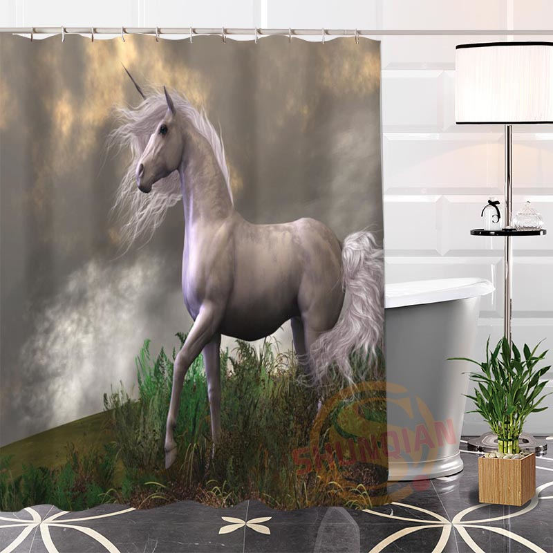 Hot New Eco-friendly Custom Unique Unicorns Forest Modern Shower Curtain bathroom Waterproof for yourself H0220-83