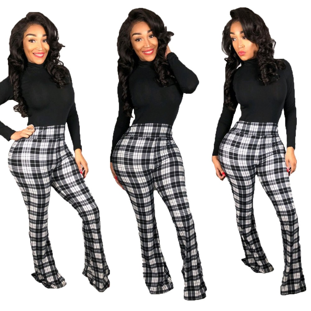 Women Plaid Print Full Length Long   Pants   Sexy High Waist Trousers For Women Ladies Summer Flare   Pants     Capris   YL0245