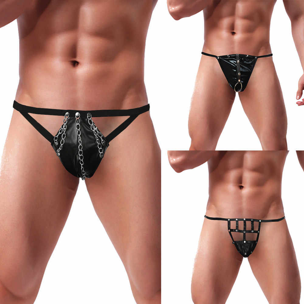 94e83f9175d3 Artificial Leather Crotch Bodysuit Male G-string New Fashion 2018  Underpants in Black Three different