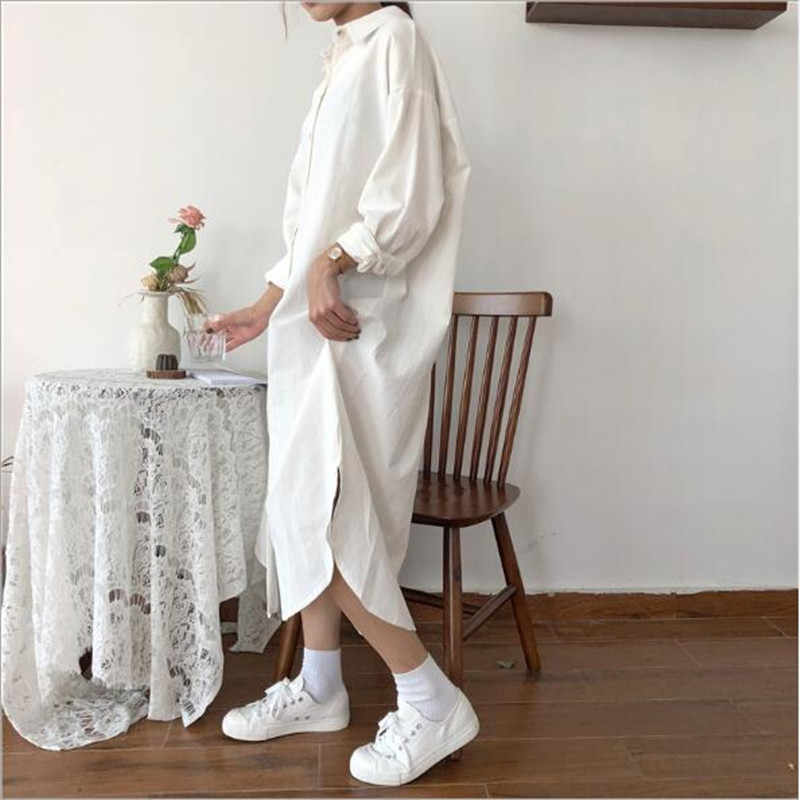 Корейский стиль, винтажное осеннее длинное платье, рубашка с длинными рукавами, платье с отложным воротником, женская рубашка, макси платье, хлопок, синий QV782