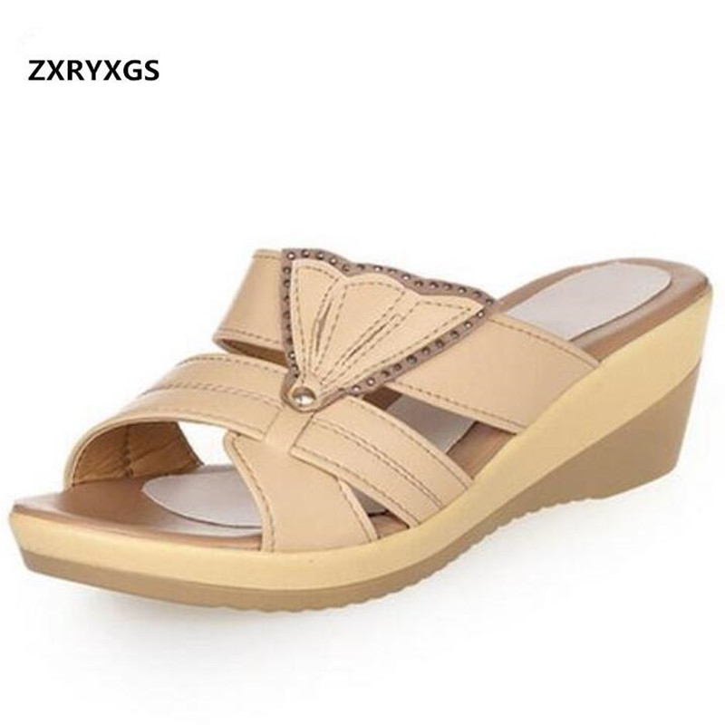 Large size High end fashion sandals women slippers 2019 Open toe sexy genuine leather sandals wedges women shoes sandal slippersLarge size High end fashion sandals women slippers 2019 Open toe sexy genuine leather sandals wedges women shoes sandal slippers