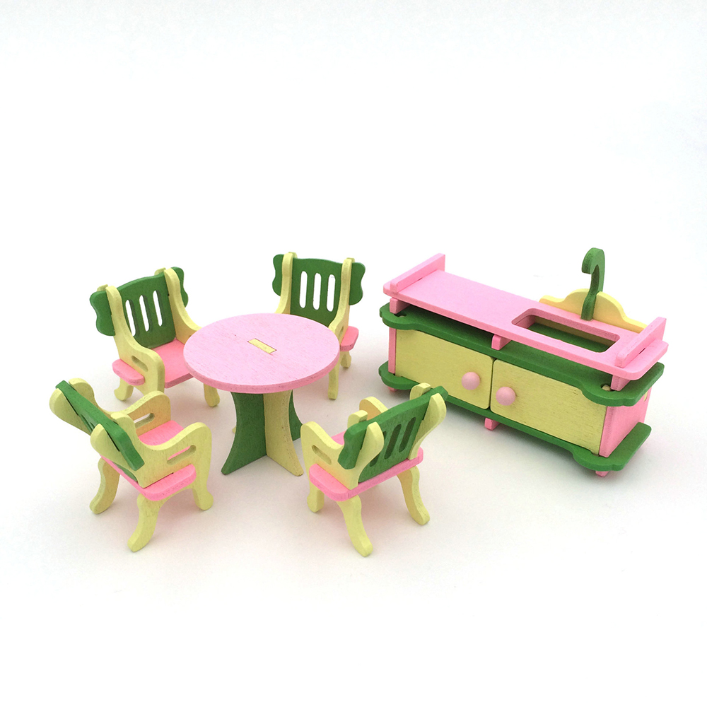 1:12 Dollhouse Miniature Furniture Wooden Restaurant Furniture Toy Table Chair Set for Doll House Decor