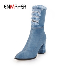 ENMAYER New Fashion women square heel ankle boots lady pointed toe  fashion denim high Size 34-39 ZYL799