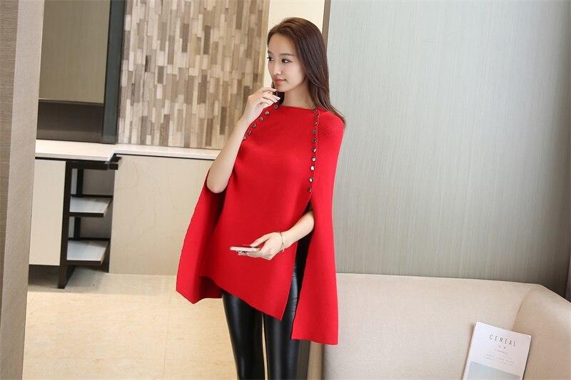 Новая мода зима осень пончо свитер женский двубортный брендовый вязаный свитер и пуловеры Pull Femme джемпер - Цвет: Красный