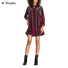 Nkisses Brand 2017 New Fashion Women ZA Full Sleeve Plaid Floral Embroidery Turn-down Collar Casual Long Shirts