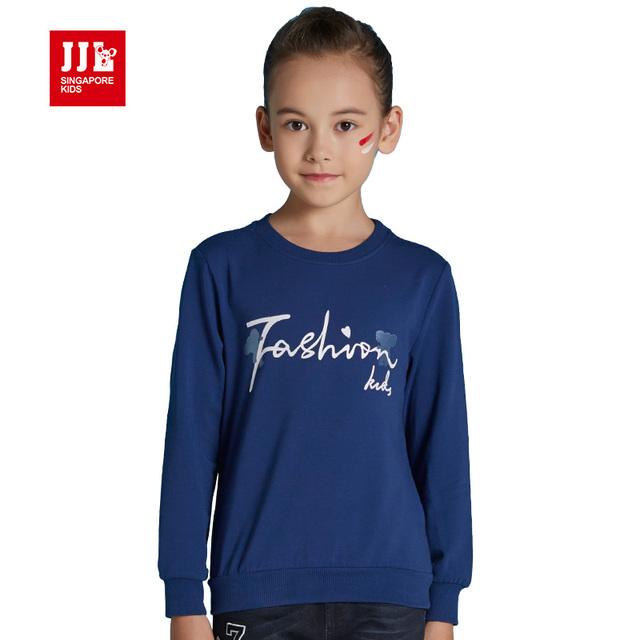 De china al por menor niñas ropa de las muchachas camiseta de los niños camisetas con capucha tamaño 6-15 t niños ropa para niños tapas de invierno puro color