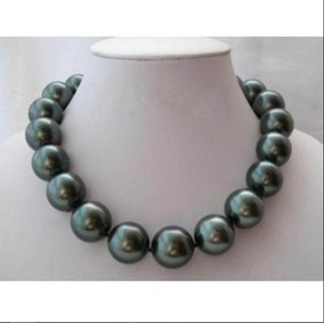 Woman classic jewelry 18MM 20mm black green round bead Natural SOUTH SEA SHELL PEARL NECKLACE JEWELRY 18 45cmWoman classic jewelry 18MM 20mm black green round bead Natural SOUTH SEA SHELL PEARL NECKLACE JEWELRY 18 45cm