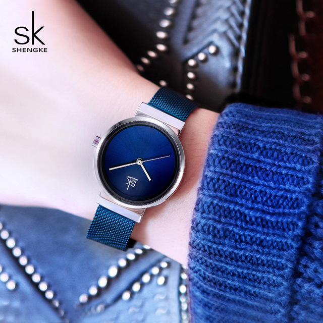 Shengke Women Watches Blue Fashion Stainless Steel Quartz Watch Reloj Mujer 2019