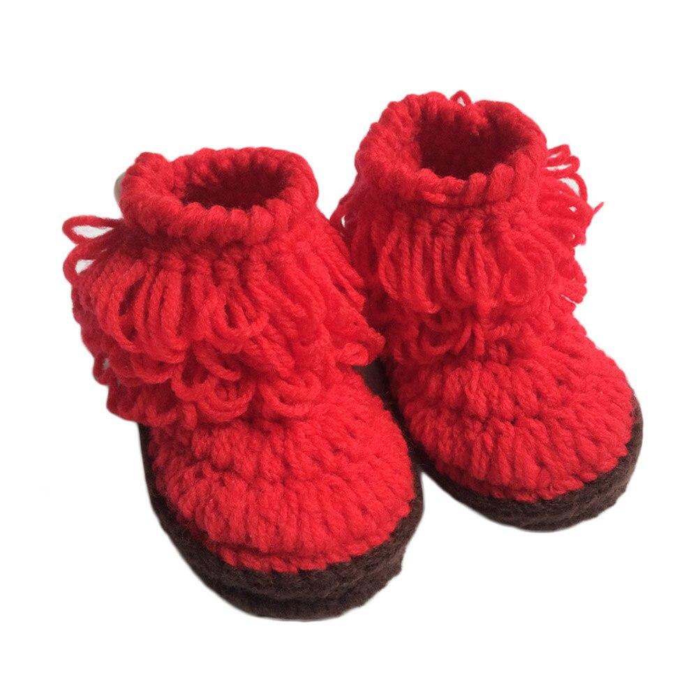2018 Baby Girls Crochet Handmade Knit High-top Tall Boots Shoes