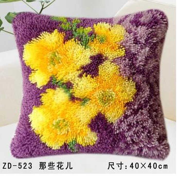 ידני DIY creative מתנות צהוב פרח וו תפס שטיח ערכות רקמה גמור כרית שטיח חוט כרית רקמת שטיח