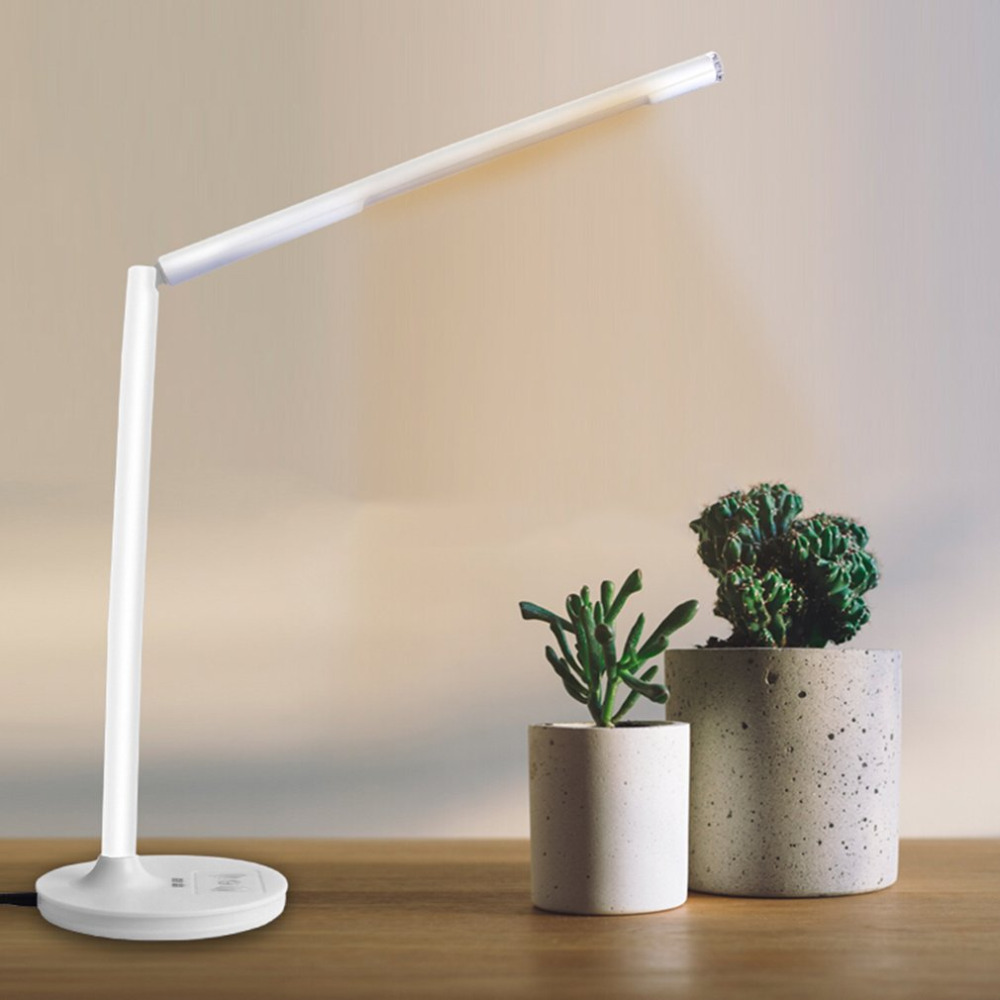 Dropshipping LEISE T2 Wireless Charging Desk Dimmable Lamp LED Eye Protection Combo Bedside Desk Office Reading Smart Desk Lamp xiaomi smart desk lamp second generation led eye protection college students bedroom study desk bedside lamp