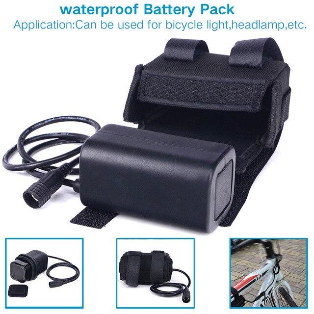 waterdichte 8 4 v 6400 mah 4x18650 oplaadbare batterij led fietsverlichting lithium batterijen. Black Bedroom Furniture Sets. Home Design Ideas