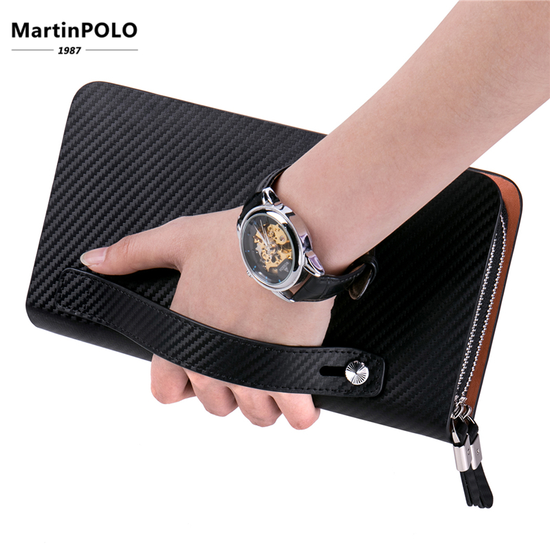 MartinPOLO Brand Mens Handbag Genuine Leather Male Clutch Bag Business Zipper Long Wallet Phone Credit Card Holder MP2001