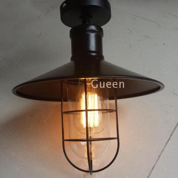 American industrial iron loft ceiling light black warehouse small iron cage bar table glass bird cage ceiling lamp