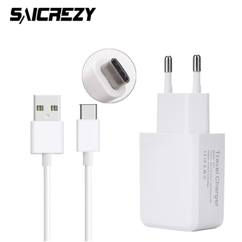 Type-C EU US Plug Travel Wall Charger for Huawei Nova 2 Plus P9 P10 Plus Honor 8 9 V9 ZTE Nubia Z11 Z17 Mini + USB Type C Cable