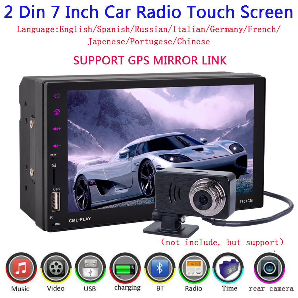 2 Din Car Radio Touch Screen 7 inch GPS Android mirror link 9 languages hands free BT/FM/TF/USB with rear view camera car audio 7 2din in dash car radio mp5 player digital touch screen bluetooth handsfree usb tf fm dvr aux input car charge gps rear camera