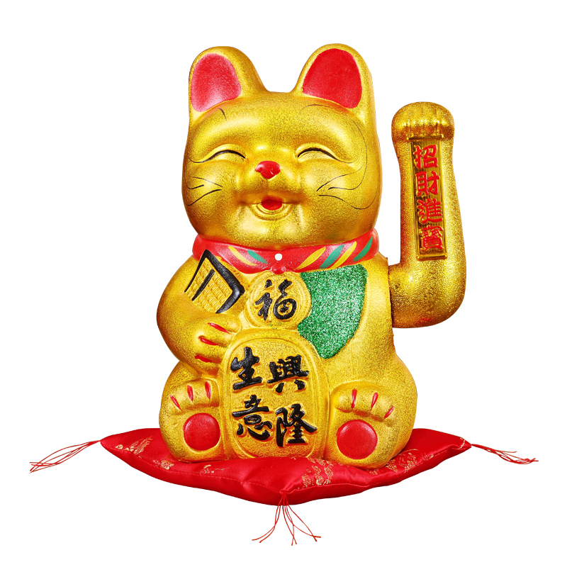 Big 15 Inch Ceramic Cute Smiley Lucky Cat Figurines Feng Shui Wealth Fortune Ornaments Shaking Hands Home Decoration Accessories