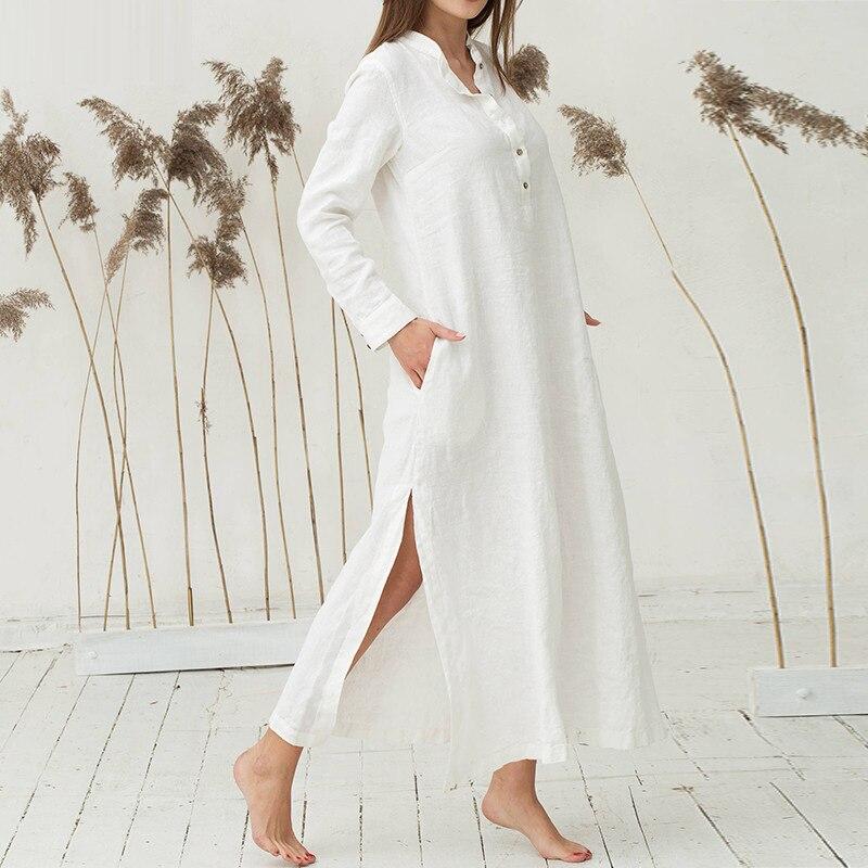 Women cotton shirt dress V Neck long Sleeve Split Summer Shirt Dress Loose Casual Solid Long Maxi Kaftan Plus Size