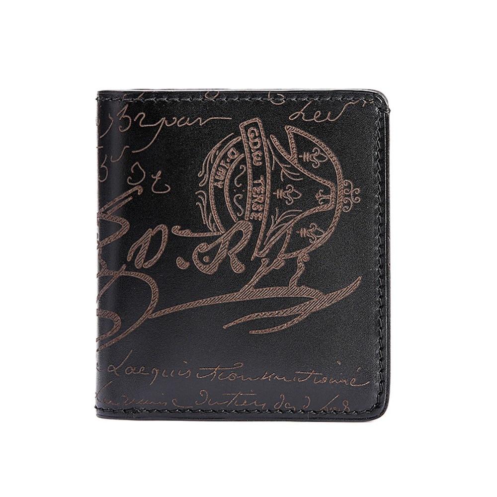 TERSE 10 MOQ engraving handmade short font b wallet b font luxury genuine leather customize logo