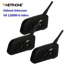3PCS Vnetphone V6 1200M Motorcycle Bluetooth Helmet Intercom for 6 Riders BT Wireless Motorbike Interphone Headsets Earphone