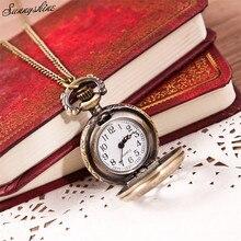 Hot Fashion Women Men Watches Vintage Retro Bronze Quartz Pocket Clock Pendant Chain Necklace wholesale