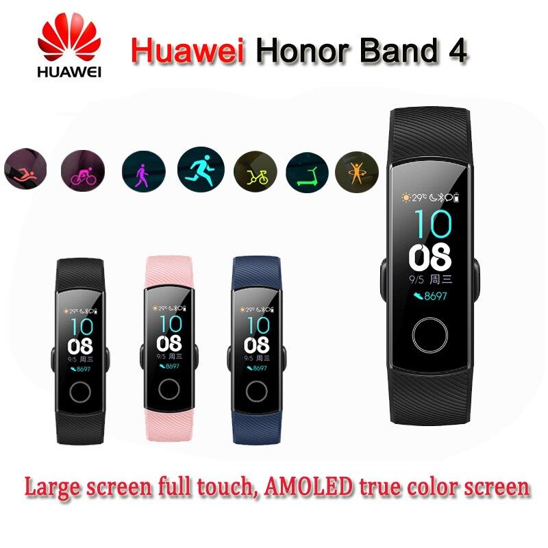 Original Honor Band 4 Smart Armband 50 mt Wasserdichte Fitness Tracker Touch Heart Rate Monitor Display Anruf Nachricht Zeigen