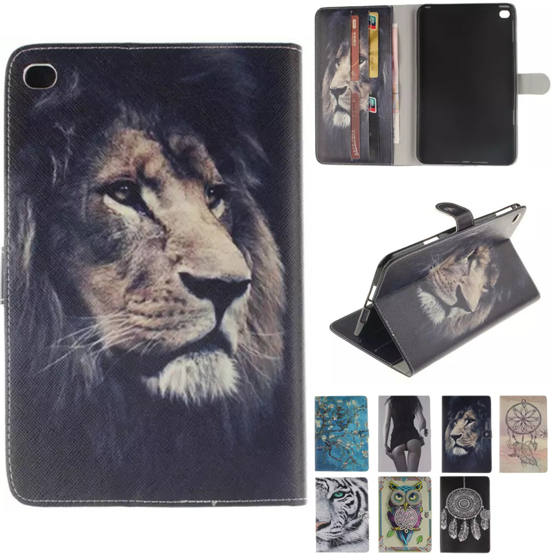 Luxury Designer Case For Ipad Mini 4 Smart Filp Stand Case animal Tiger owl lion For Ipad Mini4 Cover In Fashion Style
