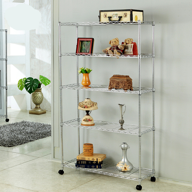 Bathroom Shelves Stainless steel movable shelves  Household kitchen storage shelves 5 layers L90cmxD35cmxH150cm double celebration of finishing the cracks movable side refrigerator kitchen corner shelf plastic three shelves 1064