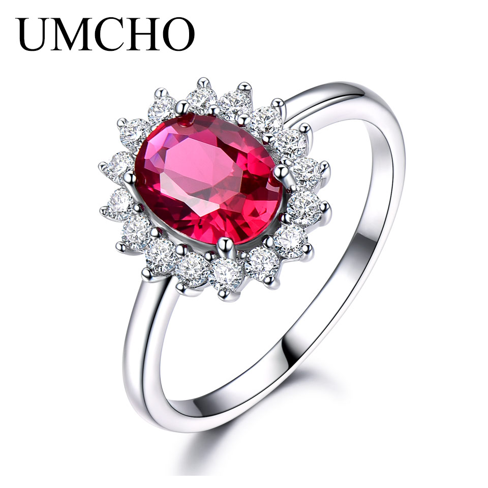 UMCHO Real 925 Sterling Silver Nano Red Gemstone Cincin Ruby Untuk Wanita Princess Diana Wedding Engagement Party Gift Fine Jewelry