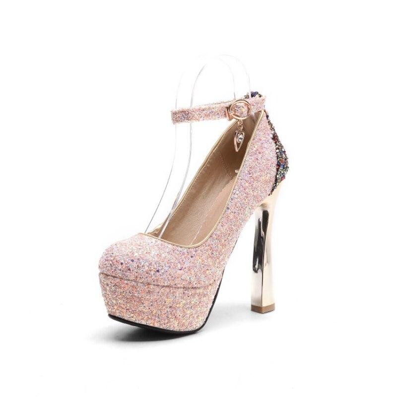 2018 New Spring Ladies Shoes Round Toe Zapatos De Tacon Sexy Bling Sequins Scarpe Donna Tacco Alto Elegant Bride Shoes Plus Size