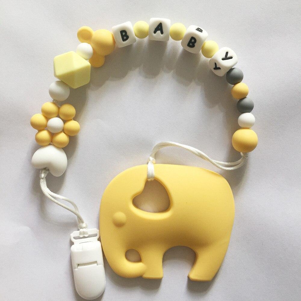 Personnalisé Nom Silicone Dentition Sucette Clips avec Elephant Silicone de dentition Sucette Chaîne Collier pour Bébé Jouets À Mâcher