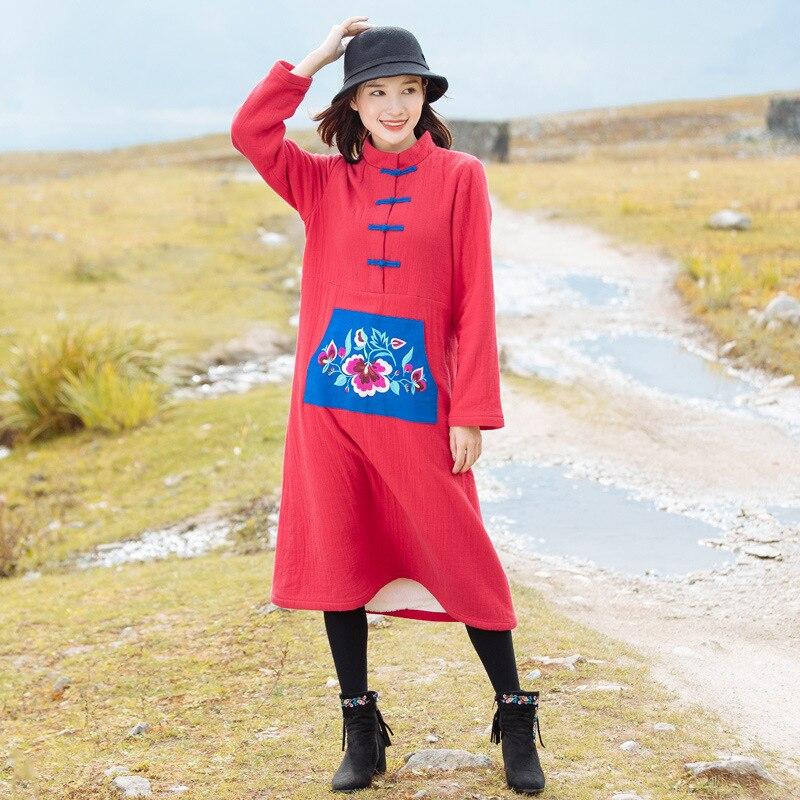 Del Ricamato Delle Più Velluto Tasto Abito Vestito Nuovo Di Autunno Nazionale Ispessimento Piastra Donne Stile Cinese Rosso acIwqC