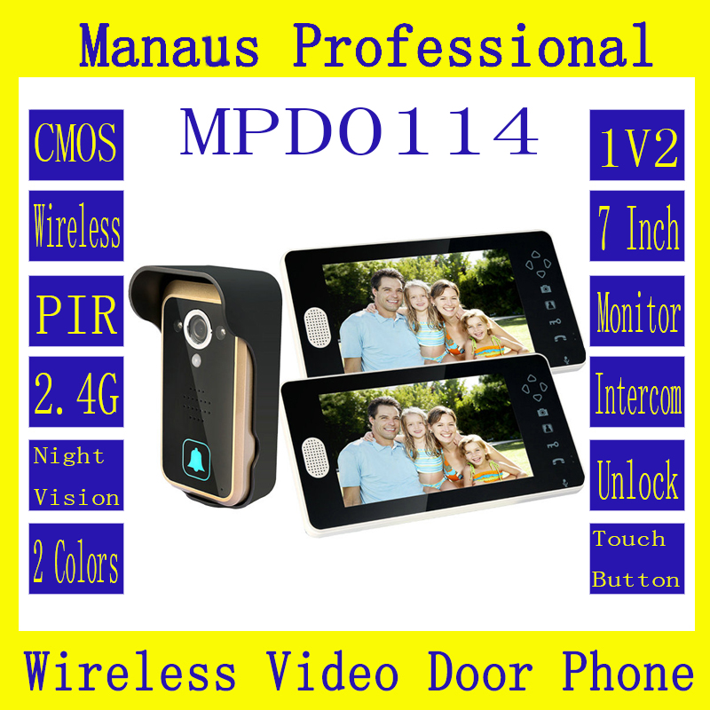 D114b Smart Home 1V2 Wireless Intercom,One to Two Video Door Phone 2.4G Digital PIR Detection Video Door Peephole Camera