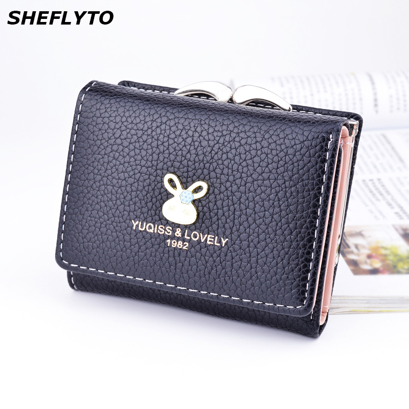 Brand Designer Small Coin Purses Leather Wallets Women Short Cute Hasp Wallet Female Money Clamp Credit Card Holders Clutch Bags famous brand leather wallets men small casual vintage short purses male credit card holders hot sale creative design money bags