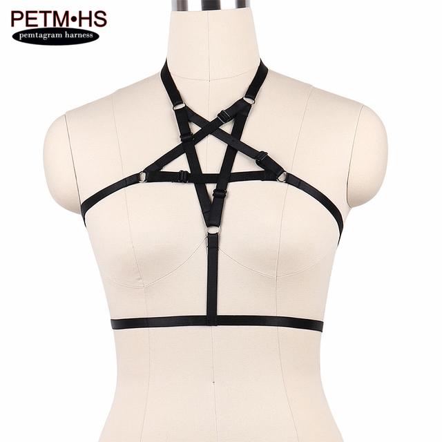 us $11 72 womens sexy goth pentagram harness black strappy tops bustier bondage body cage bra lingerie garter belt erotic burlesque dress in garters
