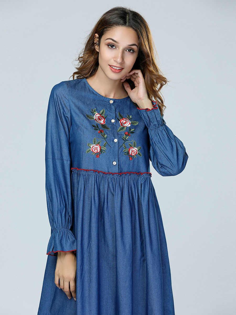 Дубай абаи женское мусульманское платье цветы вышивка кафтан турецкий Исламская Макси джинсовые платья синий желтый красный халат Фея снов