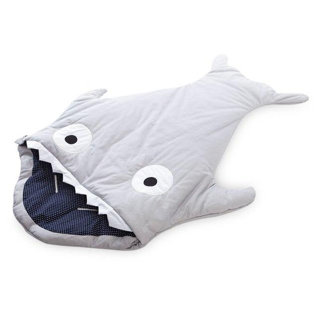 Милый мультфильм акулы младенцев мешок сна толстый зимний младенец одеяло теплый пеленальный