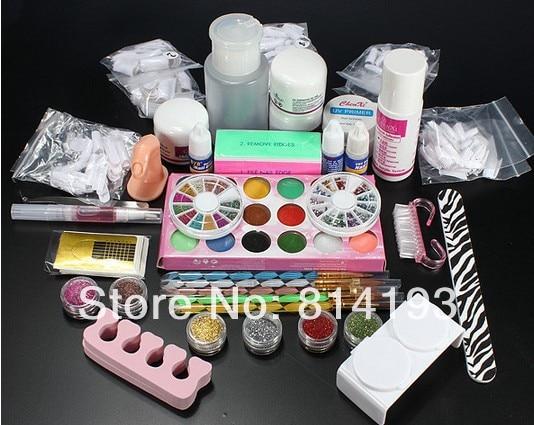 ФОТО Fashion Nails Beauty Acrylic UV Glue Primer Powder Liquid Glitter Brush Finger Nail Art Tips Kit Set Tool