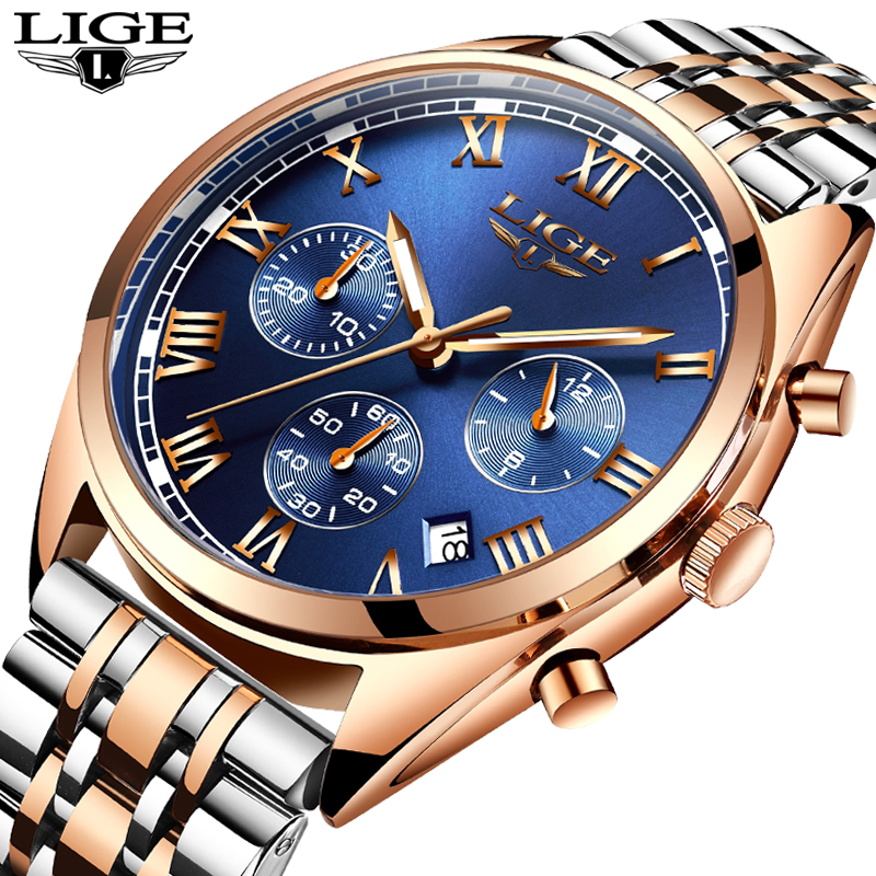 LIGE Watch Men Fashion Sport Quartz Clock Mens Watches Top Brand Luxury Full Steel Business Waterproof Watch Relogio Masculino lige brand men s fashion automatic mechanical watches men full steel waterproof sport watch black clock relogio masculino 2017