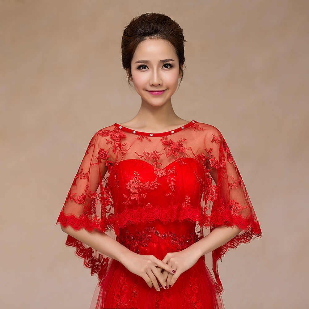 JaneVini 2018 Verão Marfim/Red Frisada Lace Bolero Nupcial Xaile para Casamentos Curto Cape Xales Vestidos Trouw Accessoires