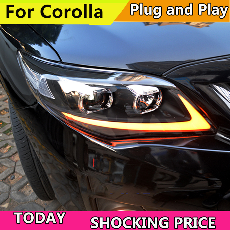 Car Styling Head Lamp case For Toyota Corolla Altis Headlights 2011-2013 LED Headlight DRL Bi-Xenon Lens Xenon Low Beam akd car styling led drl for toyota corolla 2014 2015 new altis eye brow light led external lamp signal parking accessories