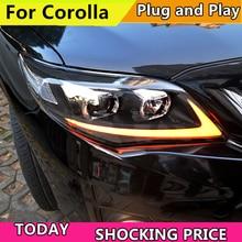 Автомобильный Стайлинг фара для Toyota Corolla Altis фары 2011 2013 светодио дный фары DRL Bi-Xenon объектив Ксенон ближнего света