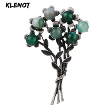 Vintage Flower Leaf Pins and Brooches for Women Gemstone Brooch Natural Stone Plant Branch Leaves Flower Brooch Clothes Jewelry rhinestone octopus flower pins and brooches for women plant brooch pearl crystal metal badges natural stone clothes jewelry gift