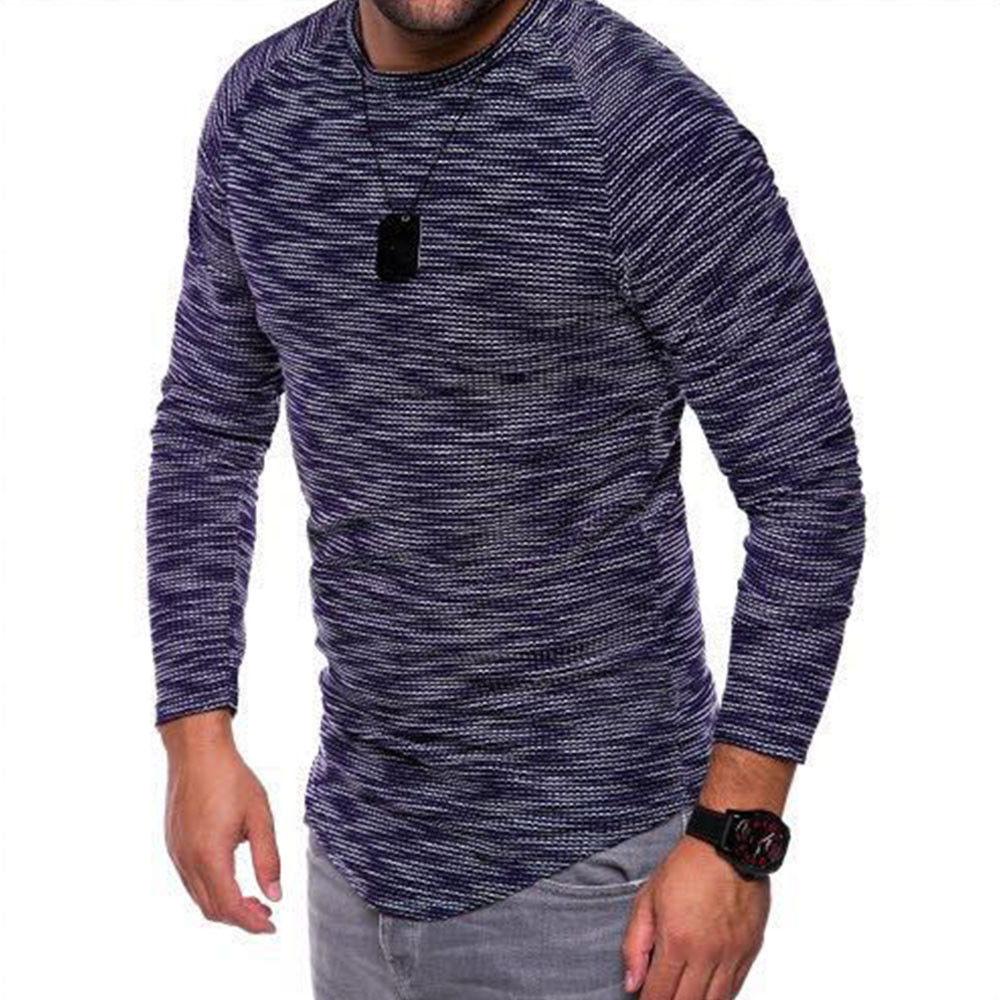 Fashion slim casual long sleeve t shirt mens autumn fit for Mens striped long sleeve t shirt